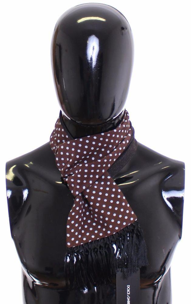 6004ef00319 NEW  300 DOLCE   GABBANA Scarf Men s Brown Polka Dotted Silk Virgin Wool  Wrap (eBay Link)