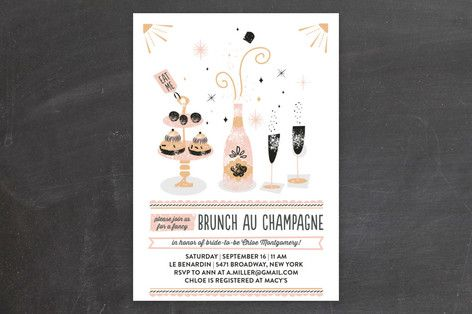 """""""Brunch Au Champagne"""" - Whimsical & Funny, Hand Drawn Bridal Shower Invitations in Cupcake by Bonjour Paper."""