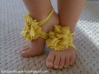 Easy barefoot baby/toddler sandals, from a recycled t-shirt!