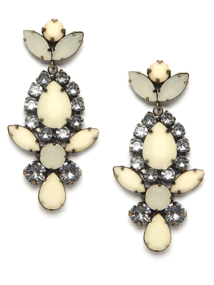 Take a turn toward turn-of-the-century glamour with these statement drop earrings. They're all-out glitzy, in the most posh way, with a mix of oversized crystals and faceted ivory gemstones.