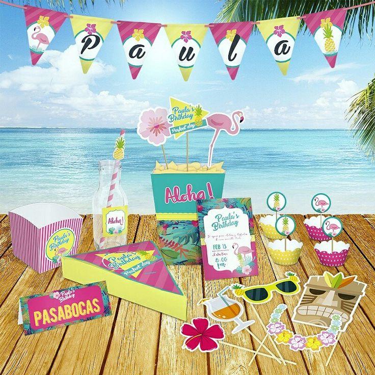 Hawaiian party #hawaiian #partyshop #personalized #tiendademomentos #fiestastemáticas #photobooth