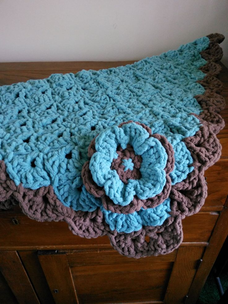 Teal/Brown square scalloped baby blanket-hand crocheted-bulky and soft #stroller blanket#car seat blanket#photo prop#play matt#nap matt by kayzeeladysplace on Etsy