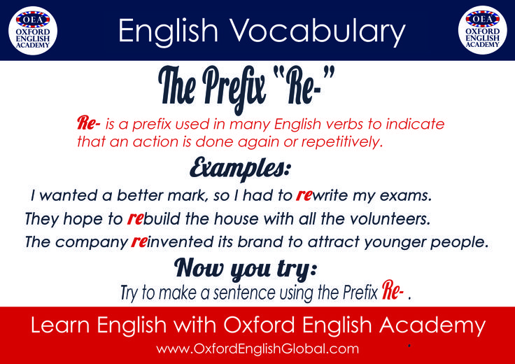 """Learn English with Oxford English Academy English Vocabulary Infographic The Prefix """"Re-"""". Click VISIT for more English learning hints and tips from the Oxford English Academy blog.  #oxfordenglishacademy #learnenglish #englishschool #englishcourse #learnenglishoxford"""
