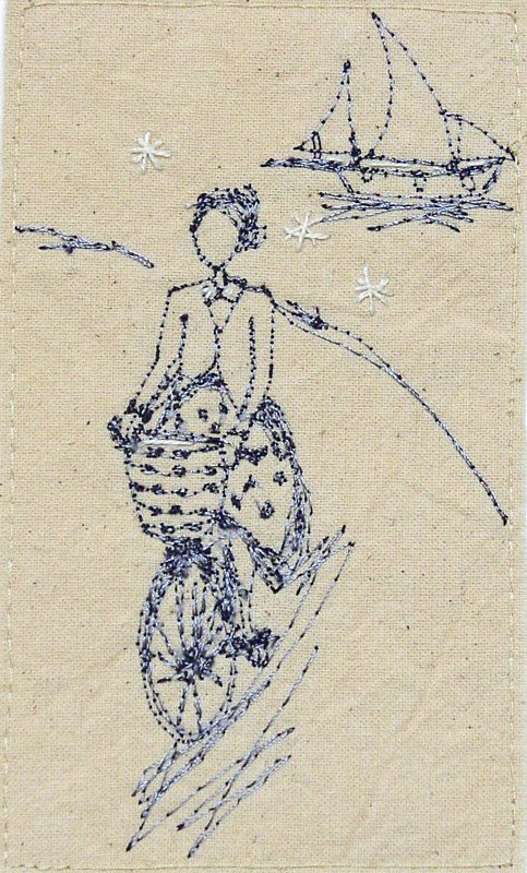 ♒ Enchanting Embroidery ♒  embroidered art - girl on bike by the Sea