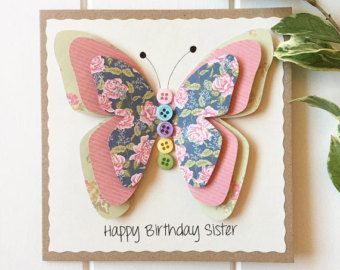 Handmade Card Butterfly  Mum Card  Mother's Day by LottieandLois