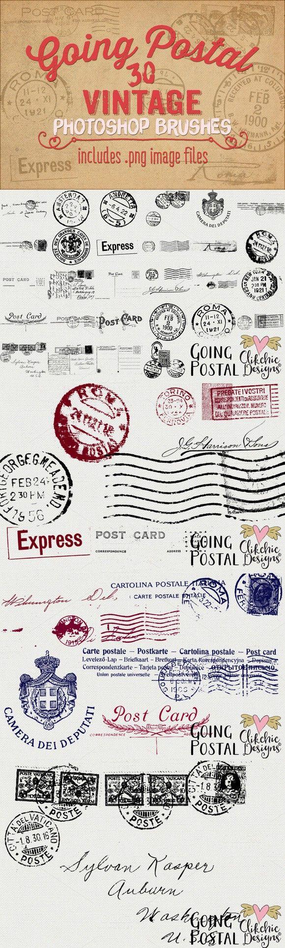 Going Postal Vintage PS Brushes. Photoshop Brushes. $9.00