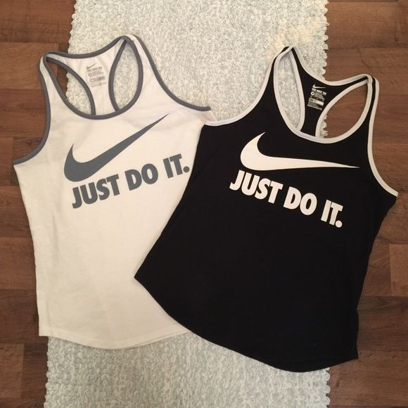 "Nike Tank Bundle Both are size medium, worn once-no flaws, athletic cut Nike tee, dri-fit. Racer back style. Length from shoulder to hem is approx 25."" Tank on left: White with grey trim and other tank is black with white trim. SELLING AS BUNDLE ONLY, NO TRADES. Nike Tops"