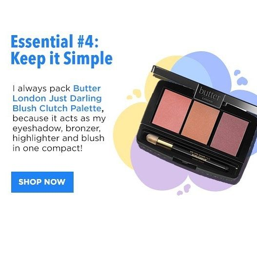 Essential 4: Simple Blush Palette ✨ Make the most out of the makeup you pack and opt for something simple like @butterlondon Just Darling Blush Clutch Palette. Use this multi-tasker for your eye shadow, bronzer, highlighter and blush – each of which will stick around throughout your activities! #gymbagessentials #blush #essentials