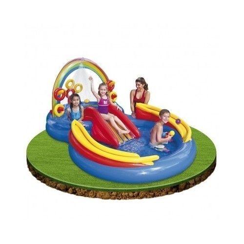 Inflatable Rainbow Ring Play Center Water Slide Pool Kiddie Play Center Sprayer #Intex