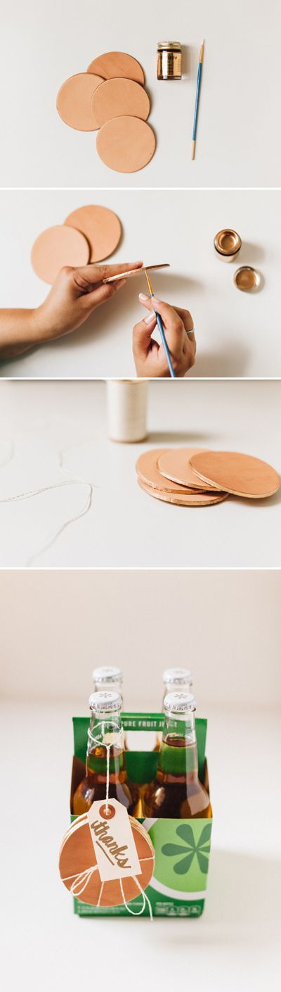 Gilded leather coasters are simple and stunning at the same time, plus they make a wonderful hostess gift!