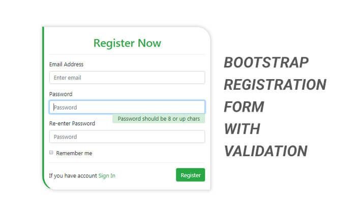 Bootstrap Registration Form With Validation Is Created By Using Pure Css Without Javascript This Bootstrap 4 Responsive Si In 2020 Registration Form Registration Form