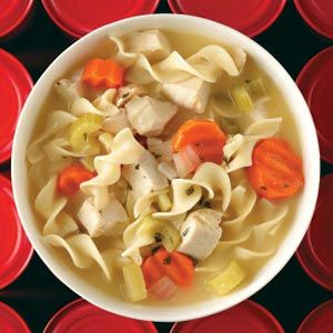 "This is my favorite recipe for homemade chicken soup although I usually omit the celery and double up on carrots.  My daughter is so spoiled by this soup she calls Campbell's soup ""slimy."""