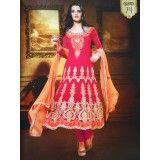 Pink Embroidered Salwar Kameez Unstitched Anarkali Suit Fabric Women Wear Dress