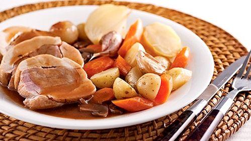 Coq au porc, sauce au vin et champignons  <3 <3 <3