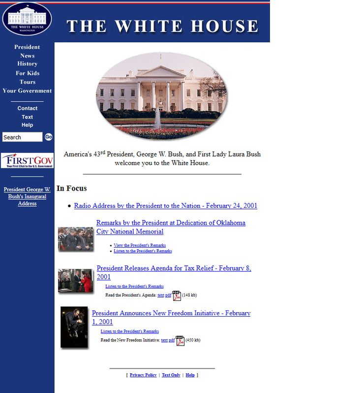 The White House website in 2001