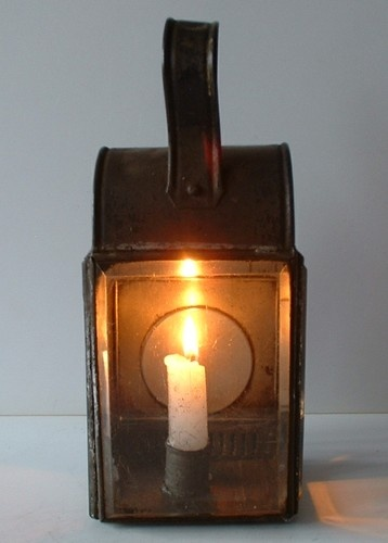 Antique Victorian Candle Lantern Hand Belt Travel Lamp