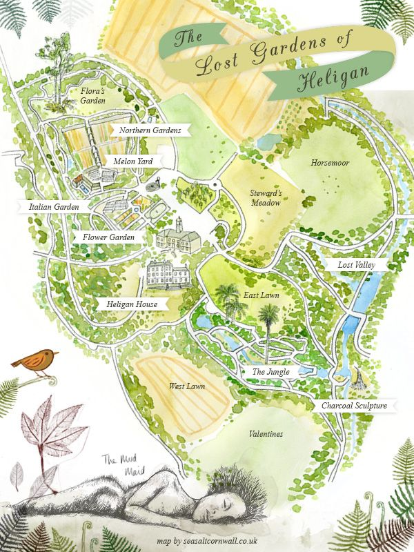 EUROPE'S LARGEST GARDEN RESTORATION PROJECT: The Lost Gardens of Heligan. Map by Seasalt. ✫ღ⊰n