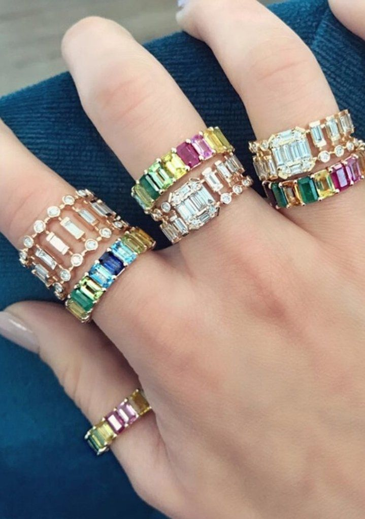 bba10bc68 Rainbow Baguette Ring - Cute Chunky Gemstone Crystal Stone Pave Multiple  Stacking Stackable Band Rings Statement Fashion Jewelry for Women for Teens  in Gold ...