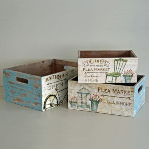 Shabby Wooden Storage Box Flea Market Crate Vintage Rustic Style - 3 Sizes: Amazon.co.uk: Kitchen & Home