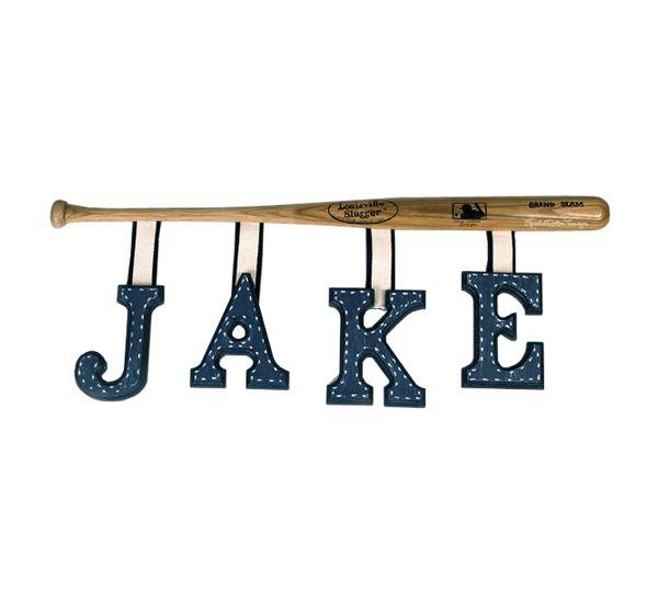 hang letters from baseball bat..cute idea!