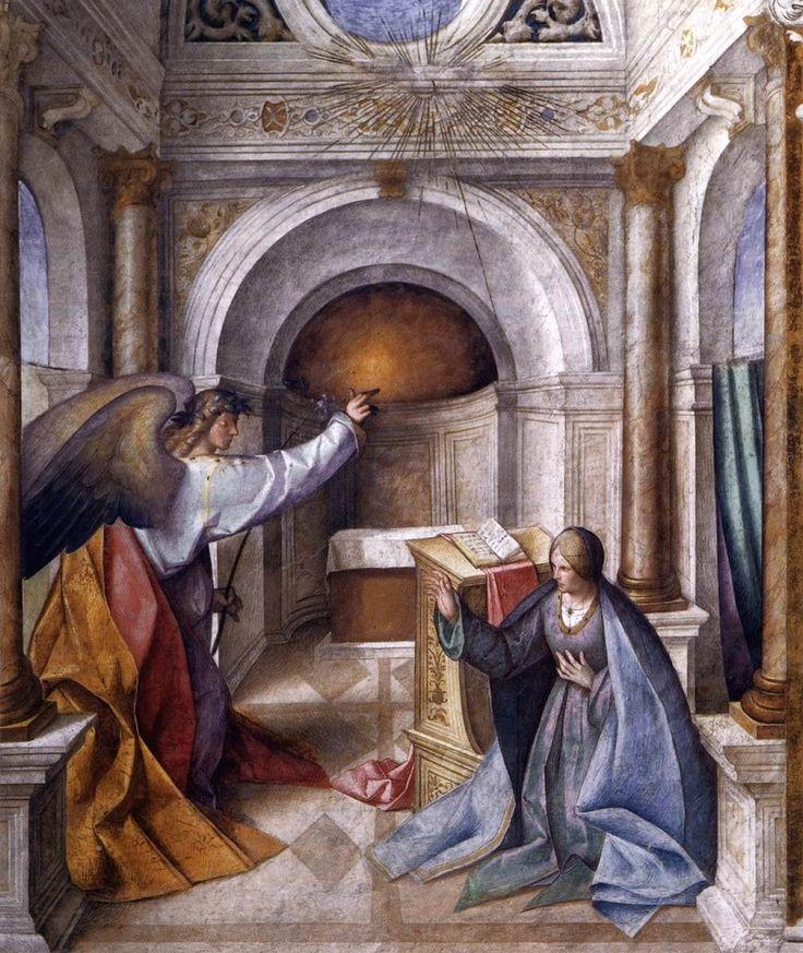 Annunciation to Mary / La Anunciación a María // c. 1516 // Boccaccio Boccaccino // Fresco Cathedral, Cremona