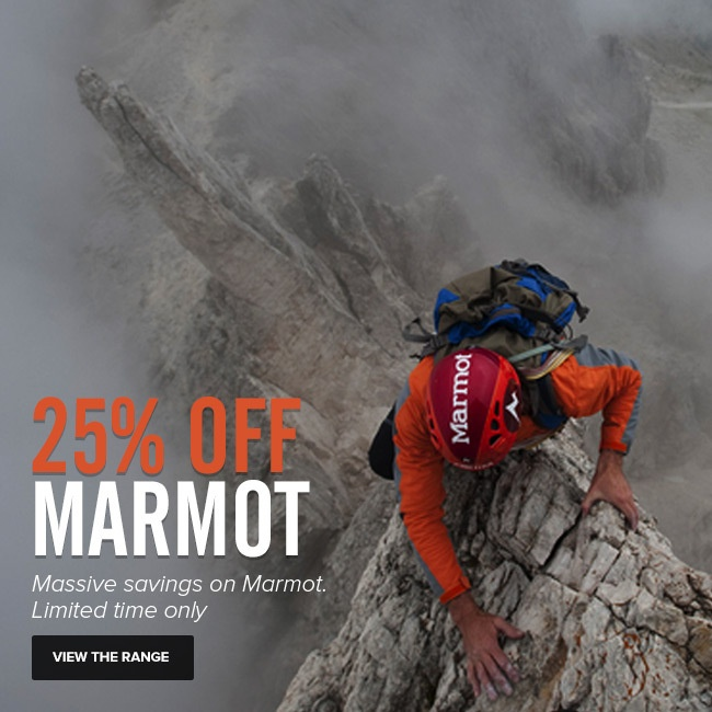 25% OFF ALL Marmot gear UNTIL MIDNIGHT TUESDAY THE 25th. Hurry, limited time only. www.mainpeak.com.... FINISHED!