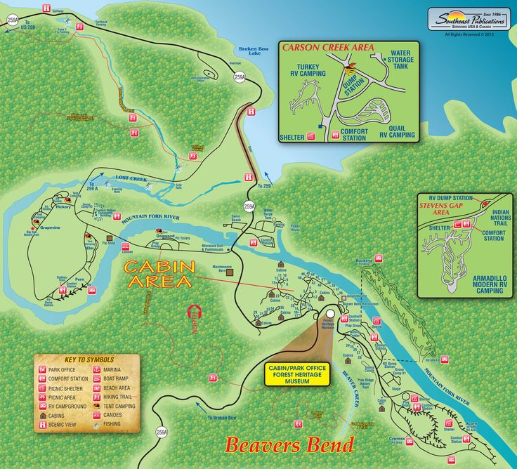 Beavers Bend State Park Map Oklahoma Camping