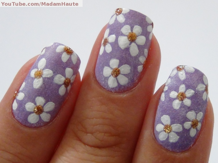 baby purple nails with little flowers