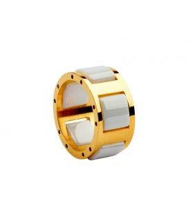 Bvlgari White Ceramic Ring in 18kt Yellow Gold