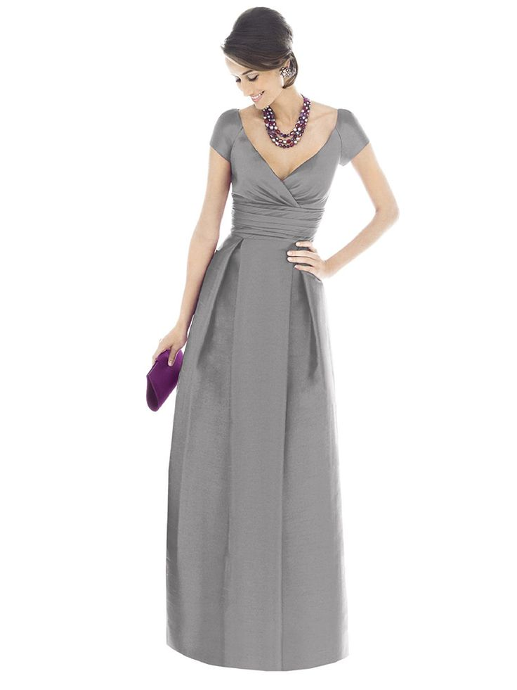 A-line V-neck Pleating Floor-length Gray Satin Dresses at Dresseshop