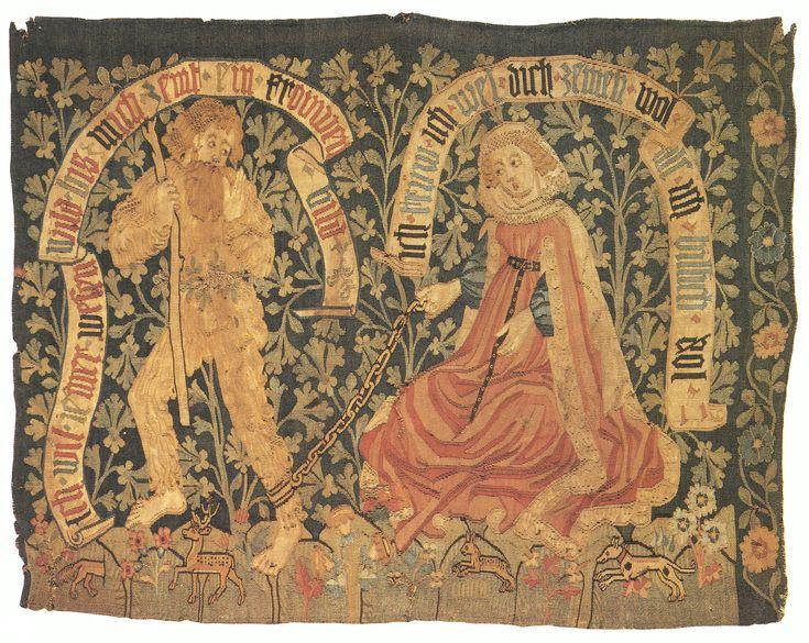 Tugendreiche Dame zähmt Wilden Mann, Wandteppich, Basel, 1470/80