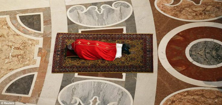 During the Celebration of the Lord's Passion mass on Good Friday to mark the day Jesus was crucified Pope Francis layed prostrate on the flo...