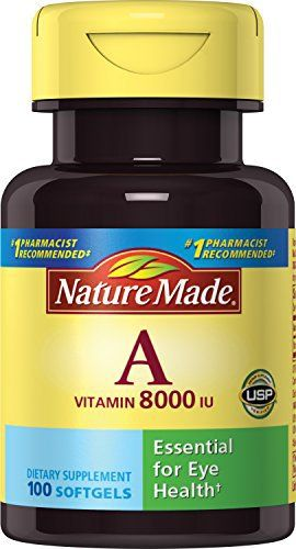 Supplement. USP verified. Recommended by pharmacists. Assists nerve and eye functions – Vitamin A also plays a role in bone and tooth formation. No artificial color. No artificial flavors. No preservatives. No chemical solvents, yeast or gluten.       Famous Words of... more details at http://supplements.occupationalhealthandsafetyprofessionals.com/vitamins/vitamin-a/product-review-for-nature-made-vitamin-a-8000iu-100-softgels/