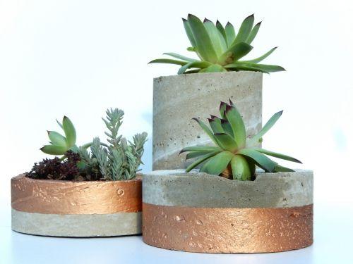 DIY des pots déco en béton et cuivre