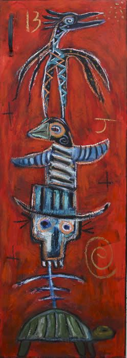 """Green Turtle Totem"" by Santa fe New Mexico art renegade Kelly Moore"