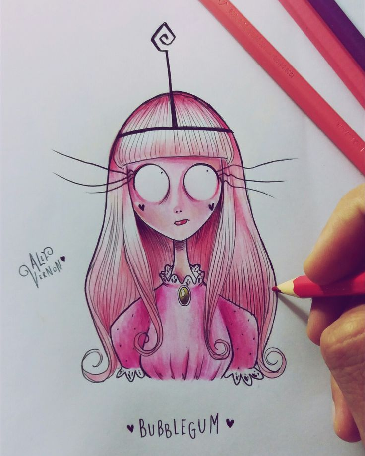 Princess Bubblegum from Adventure Time meets Tim Burton's world  #Adventuretime #princessbubblegum #timburton