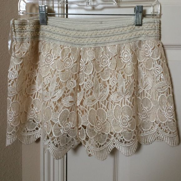 Cream/White Lace Shorts super cute and girly cream lace shorts, w/o tags but never worn! Shorts