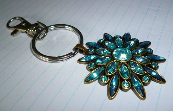 Blue Flower Keyring by RoseyCreek on Etsy, $5.00