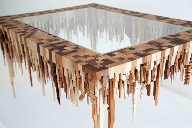 Urban Design Hlzerne Skylines aus der Bandsge  Tisch  Urbanes design Couchtische und Design