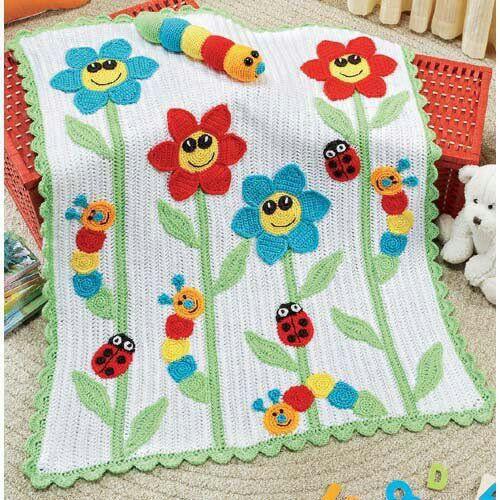 RAINBOW INCHWORM BABY BLANKET & TOY Crochet PATTERN INSTRUCTION LEAFLET