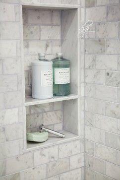 "Niche: Marble shelf.  Approx 15"" W x 27"" H.  DLP Interiors - bathroom"