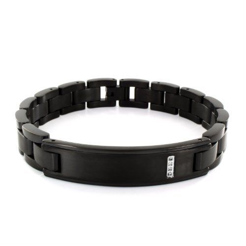 Black Stainless Steel ID Bracelet with CZ West Coast Jewelry. $35.95. Save 28%!