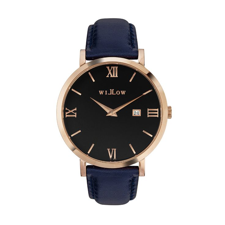 Roma Rose Gold Watch & Interchangeable Navy Blue Leather Strap.