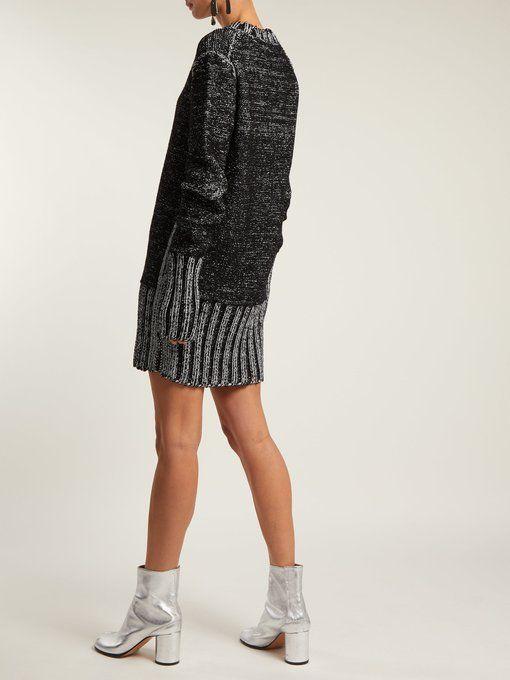 MM6 Maison Margiela Metallic heavy-knit sweater dress  fbe0a2568