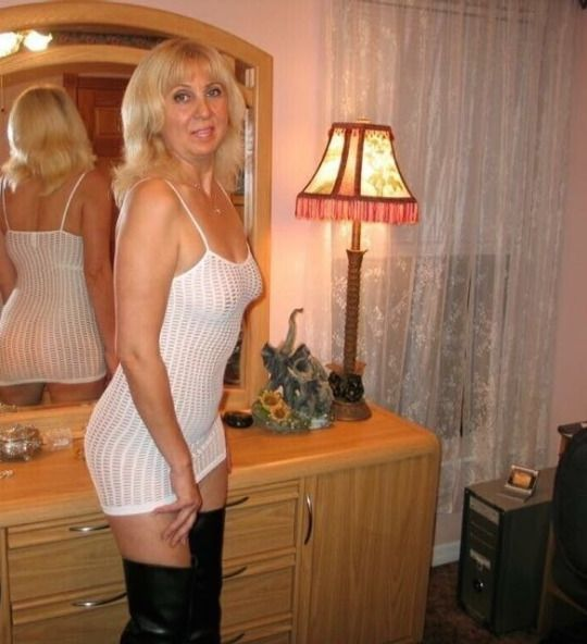 Mature women white lingerie