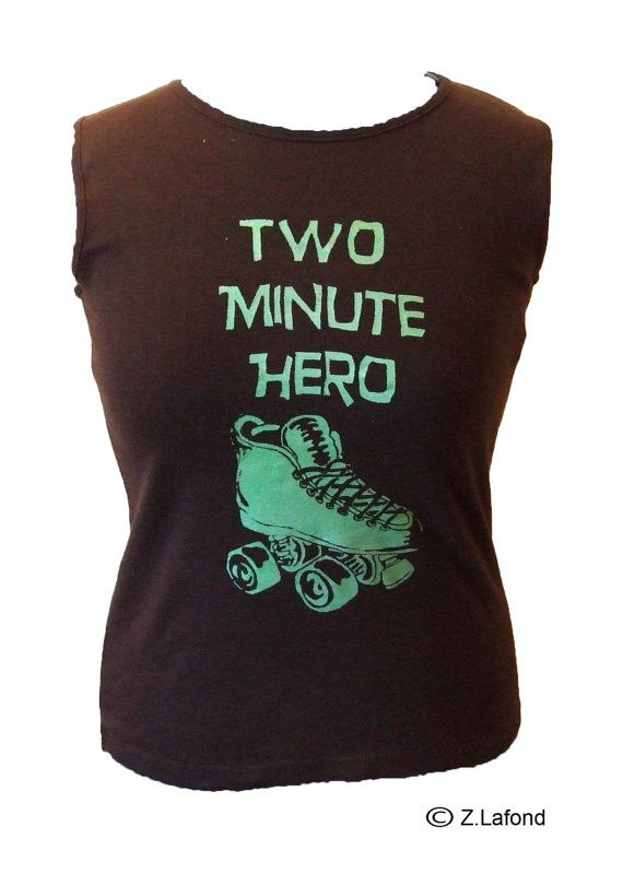 Two Minute Hero Roller Derby Tank Top Metallic by MojosDelights, £9.00