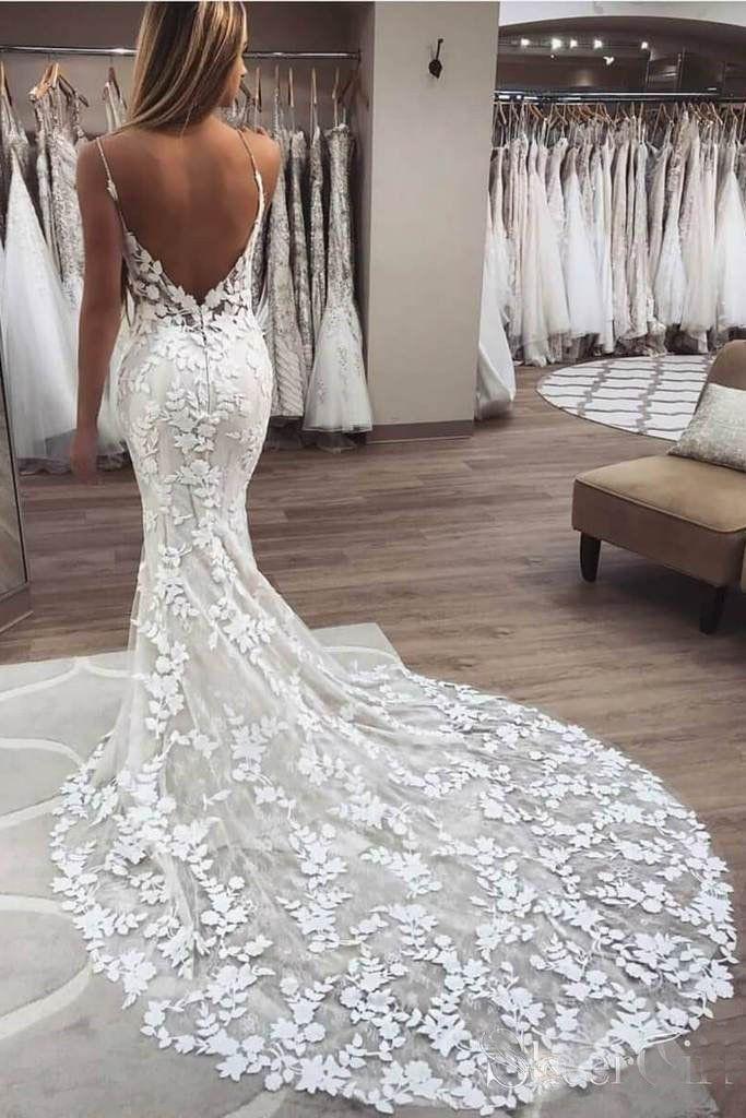 Elegant Mermaid Spaghetti Straps Lace V Neck Ivory Wedding Dresses Bridal Dresses PW776