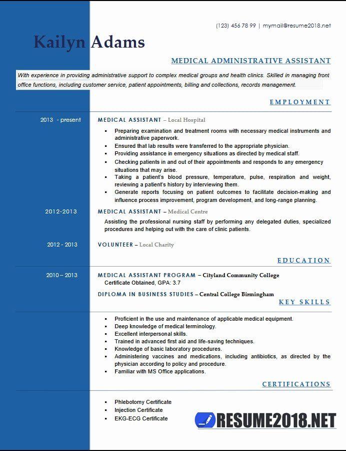 Medical Administrative Assistant Resume Unique Medical Assistant Resume Examples 2018 Medical Assistant Resume Medical Resume Template Nursing Resume Template