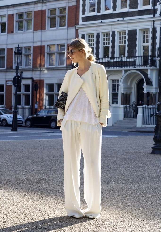 Winter white one button jacket, loose pants, white tee