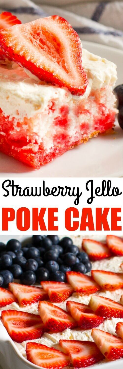 This Strawberry Jello Poke Cake is THE BEST. It's made with an angel food cake…
